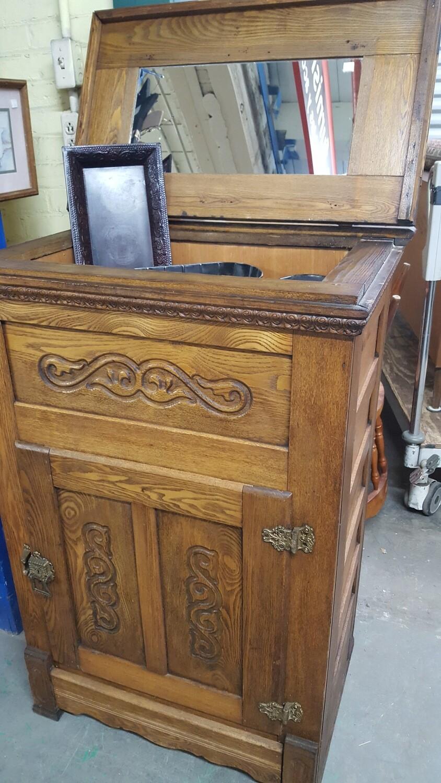 Antique oak ice box