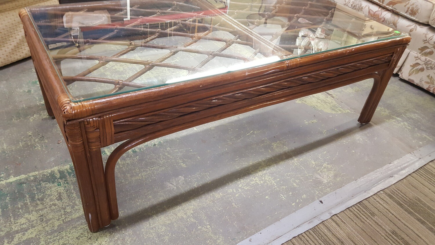 Rattan Coffee Table with glass top (GR)