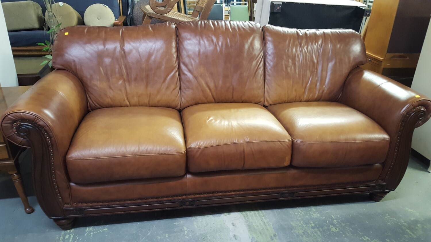Leather Sofa, medium brown