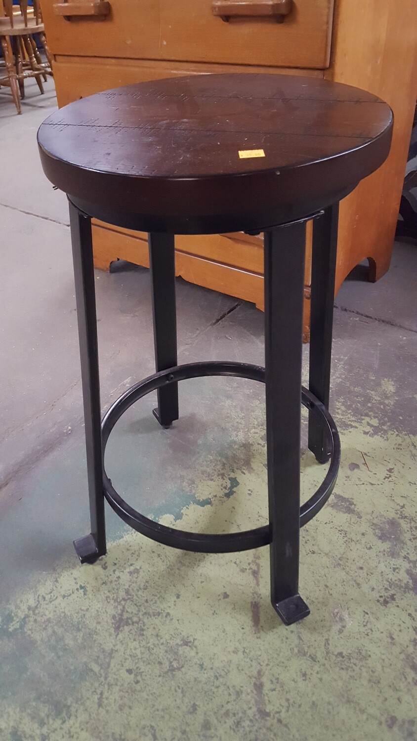 Stool with rustic wood seat (OR)