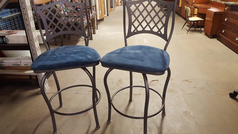 Metal Bar Stools, wood backrest, pair (p)