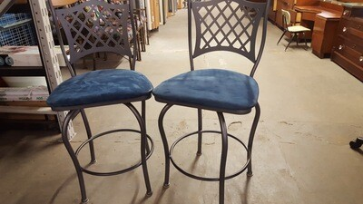 Metal Bar Stools, wood backrest, pair (p)