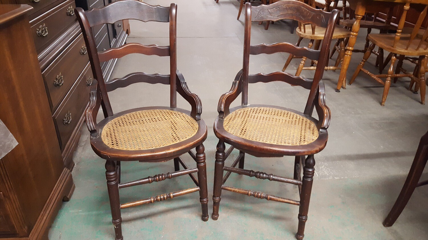 Antique Chairs, caned seat, pair (p)