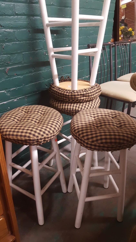 Short Stools with cushions, pair (p)