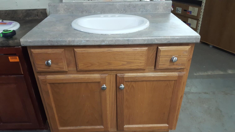 """36"""" oak vanity with sink"""