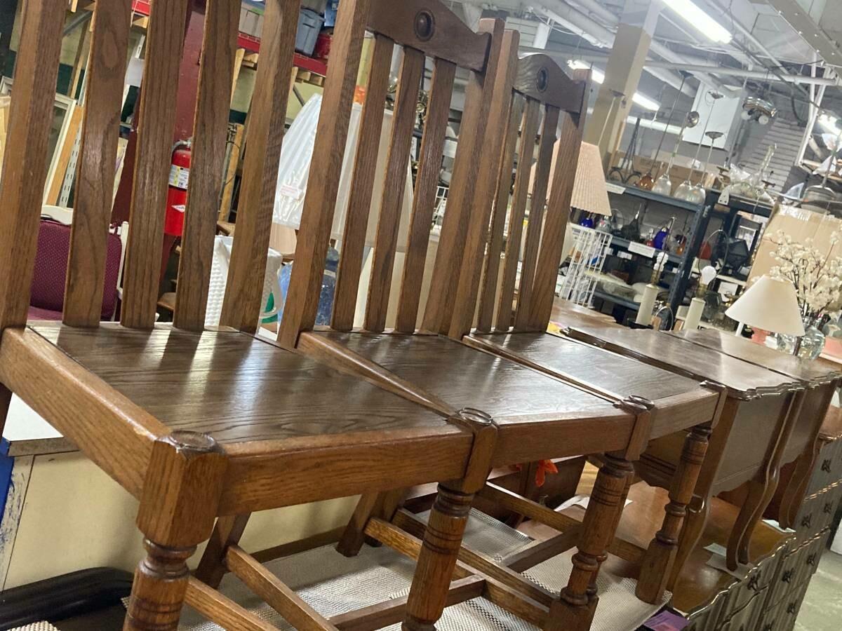 Set of 4 Antique Oak Chairs (b)