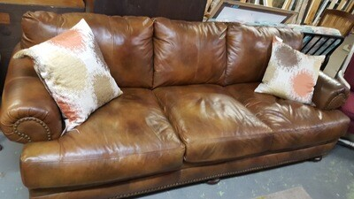 Med. Brown Leather Sofa (B)