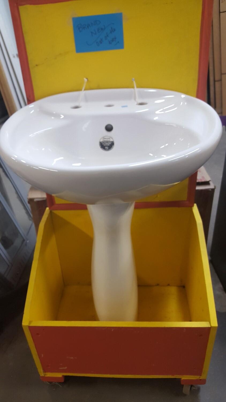 White Pedestal Sink, new!