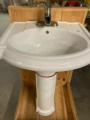 Kohler Pedestal Sink, Faucet (B)