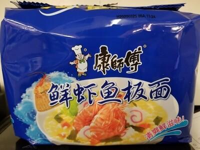 CHEF KONG INSTANT NDLE SHRIMP SEAFOOD 5PKS 鮮蝦魚板麵