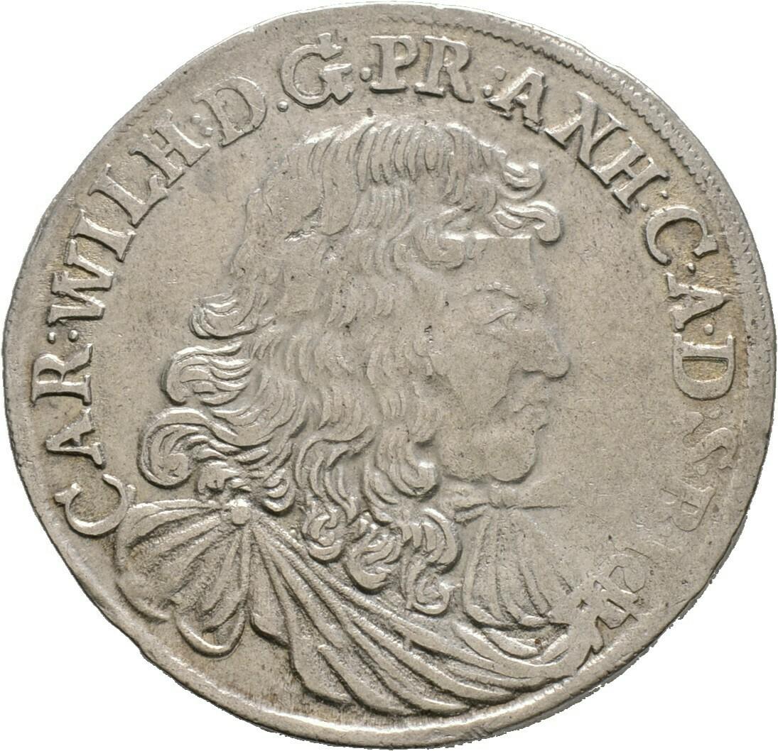 Gulden zu 2/3 Taler 1676, Carl Wilhelm, Anhalt-Zerbst