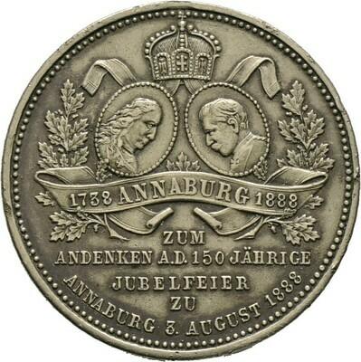 Versilberte Bronzemedaille 1888, Annaburg