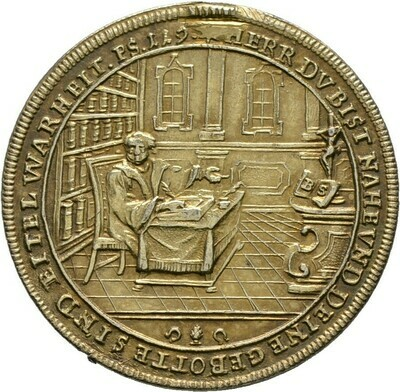 Altvergoldete Silbermedaille 1730, Augsburg