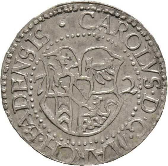 Halbbatzen zu 2 Kreuzer 1572, Karl II., Baden-Durlach