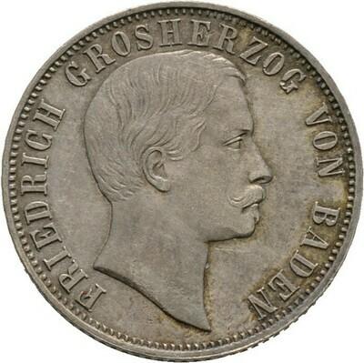 1/2 Gulden 1865, Friedrich I., Baden-Durlach