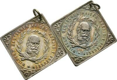2 tragbare, versilberte Medaillenklippen 1888, Brandenburg-Preußen