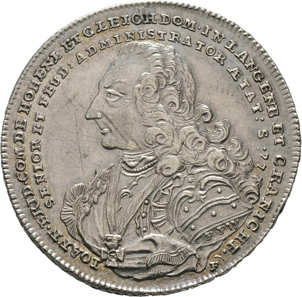 1/2 Konventionstaler 1760, Johann Friedrich II., Hohenlohe-Neuenstein-Öhringen
