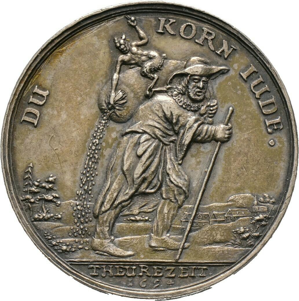 "Silbermedaille, sogen. ""Kornjuden-Medaille"" 1694, Schlesien"