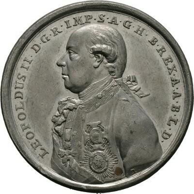 Zinnmedaille mit Kupferstift 1790, Leopold II., Haus Habsburg