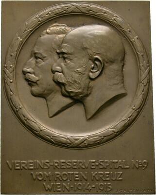 Einseitige Bronzeplakette 1914/15, Franz I., Haus Österreich