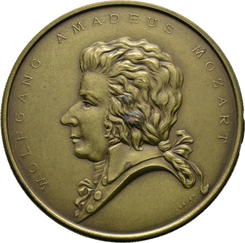 Messing-Steckmedaille o.J., Wolfgang Amadeus Mozart, Salzburg, Stadt