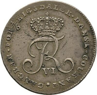 1/6 Rigsdaler sogen. Opfermark. 1808, Frederik VI., Dänemark