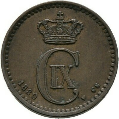 Cu-1 Öre 1880, Christian IX., Dänemark