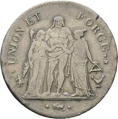 5 Francs L'AN 8 (1799/1800), Bonaparte, 1. Konsul, Frankreich