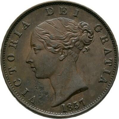 Cu-Halfpenny 1857, Victoria, Großbritannien