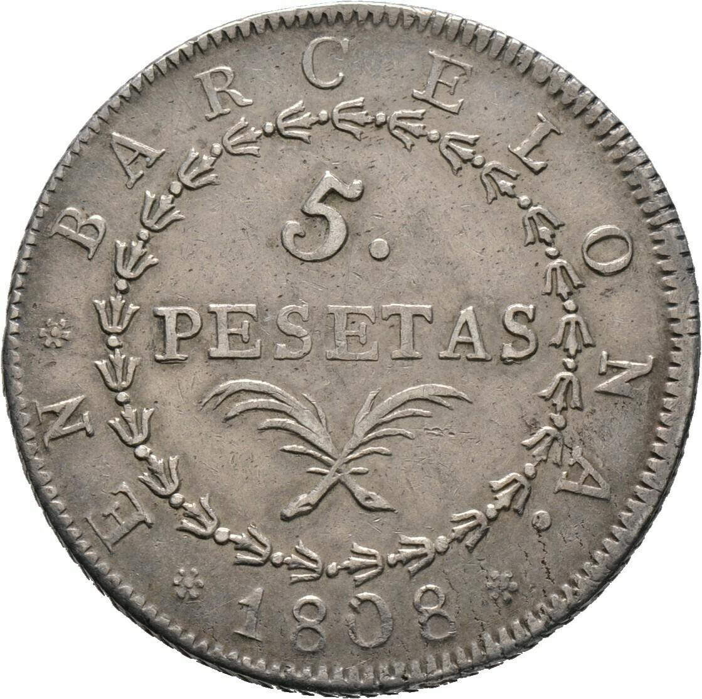 5 Pesetas 1808, José Napoleón, Spanien-Barcelona