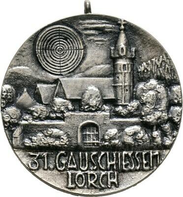Tragbare Silbergußmedaille mit Signatur ER, Mittelschwäbisches Gauschießen, Schützen