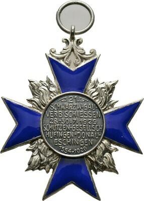 Tragbares, silbernes Kreuz, Schwarzwaldgau-Verbandsschießen zu Tuttlingen, Schützen