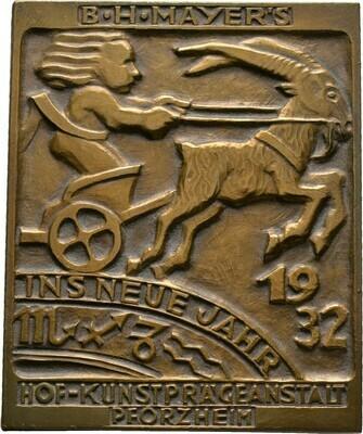 Bronzeplakette 1932, Pforzheim, Kalendermedaillen