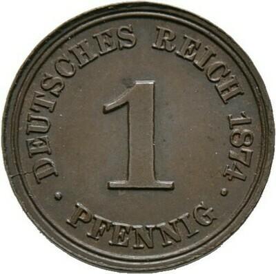 1 Pfennig 1874 A, Kleinmünzen, Deutsche Münzen ab 1871