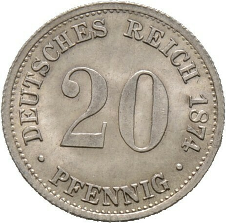 20 Pfennig 1874 B, Kleinmünzen, Deutsche Münzen ab 1871