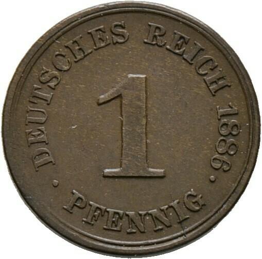1 Pfennig 1886 G, Kleinmünzen, Deutsche Münzen ab 1871