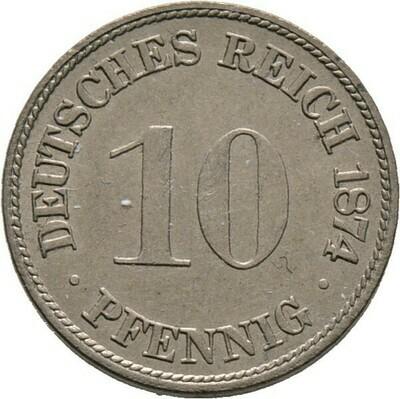 10 Pfennig 1874 F, Kleinmünzen, Deutsche Münzen ab 1871