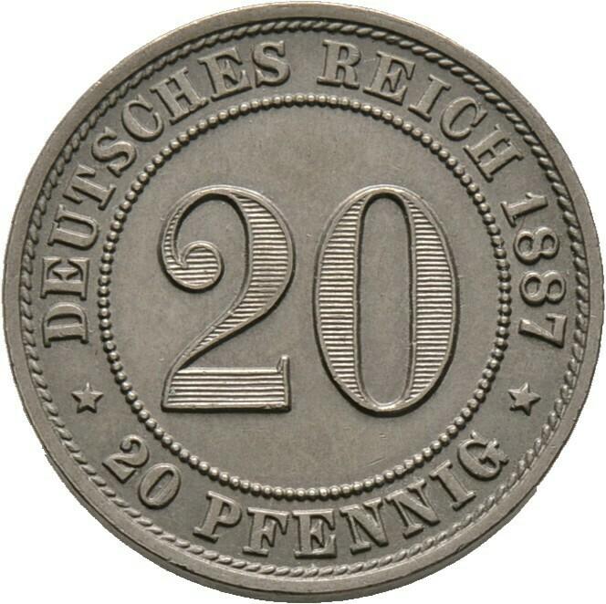 20 Pfennig 1887 A, Kleinmünzen, Deutsche Münzen ab 1871
