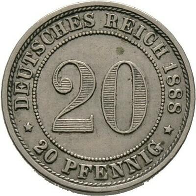 20 Pfennig 1888 E, Kleinmünzen, Deutsche Münzen ab 1871