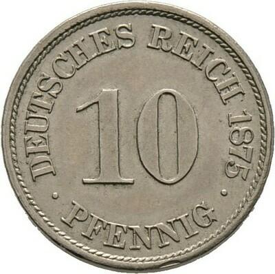 10 Pfennig 1875 A, Kleinmünzen, Deutsche Münzen ab 1871