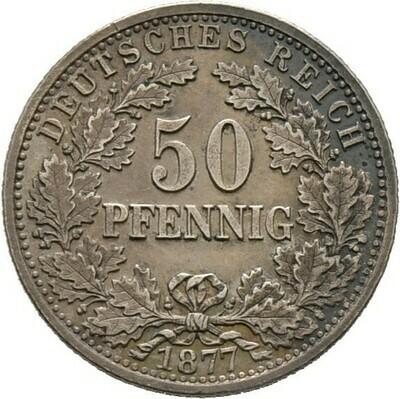 50 Pfennig 1877 B, Kleinmünzen, Deutsche Münzen ab 1871