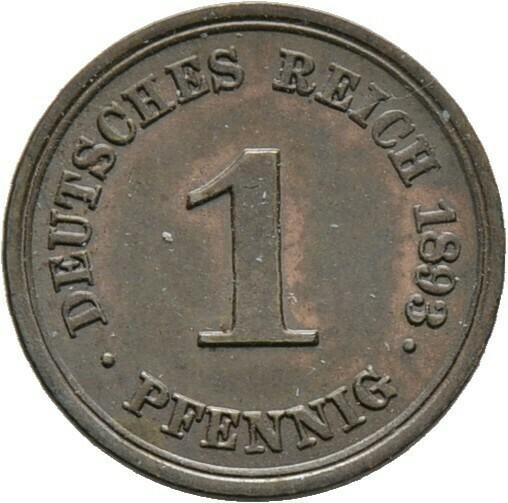 1 Pfennig 1893 E, Kleinmünzen, Deutsche Münzen ab 1871