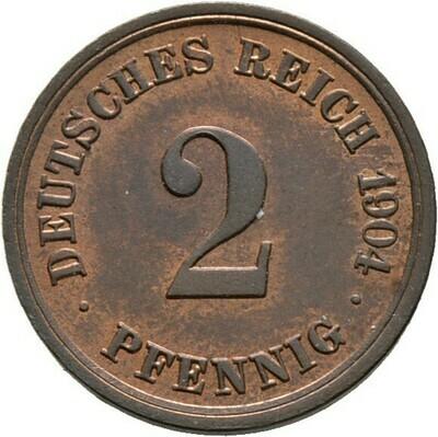 2 Pfennig 1904 F, Kleinmünzen, Deutsche Münzen ab 1871
