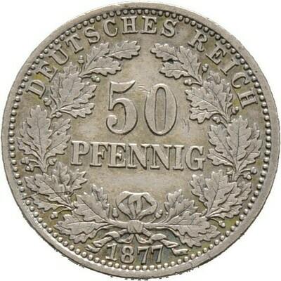 50 Pfennig 1877 A, Kleinmünzen, Deutsche Münzen ab 1871