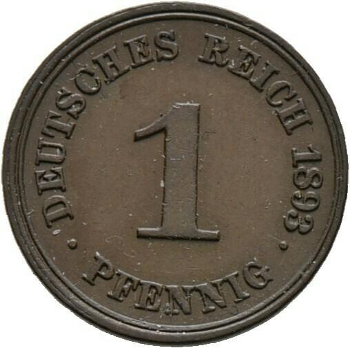 1 Pfennig 1893 F, Kleinmünzen, Deutsche Münzen ab 1871