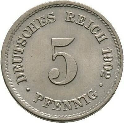 5 Pfennig 1902 F, Kleinmünzen, Deutsche Münzen ab 1871