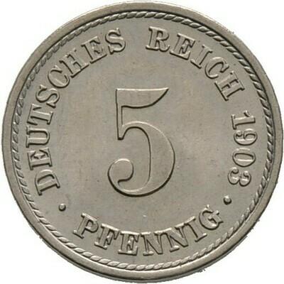 5 Pfennig 1903 F, Kleinmünzen, Deutsche Münzen ab 1871