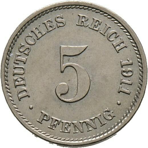 5 Pfennig 1911 G, Kleinmünzen, Deutsche Münzen ab 1871