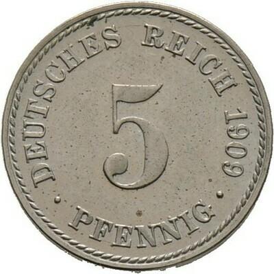 5 Pfennig 1909 A, Kleinmünzen, Deutsche Münzen ab 1871