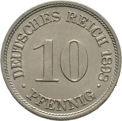 10 Pfennig 1898 F, Kleinmünzen, Deutsche Münzen ab 1871